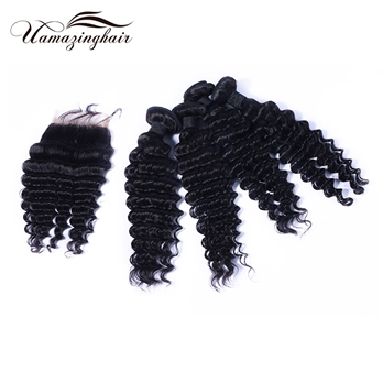 Indian virgin hair 4 bundles Deep Wave with 3.5