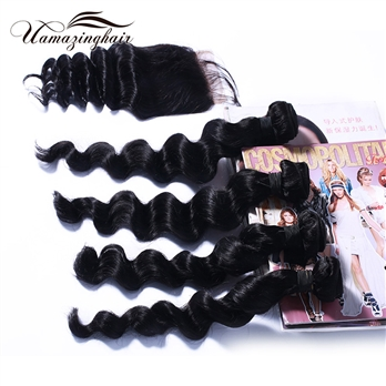 Indian virgin hair 4 bundles Loose Wave with 3.5*4 Free part lace top closure