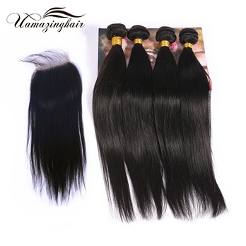 Indian virgin hair 4 bundles Silk Straight with 3.5*4 Free part lace top closure