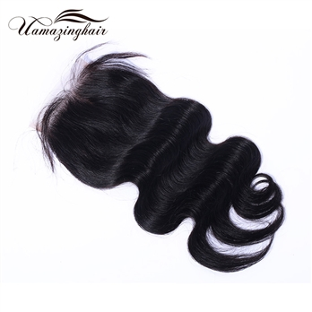 Indian virgin hair Body Wave 3.5*4 Free part lace top closure