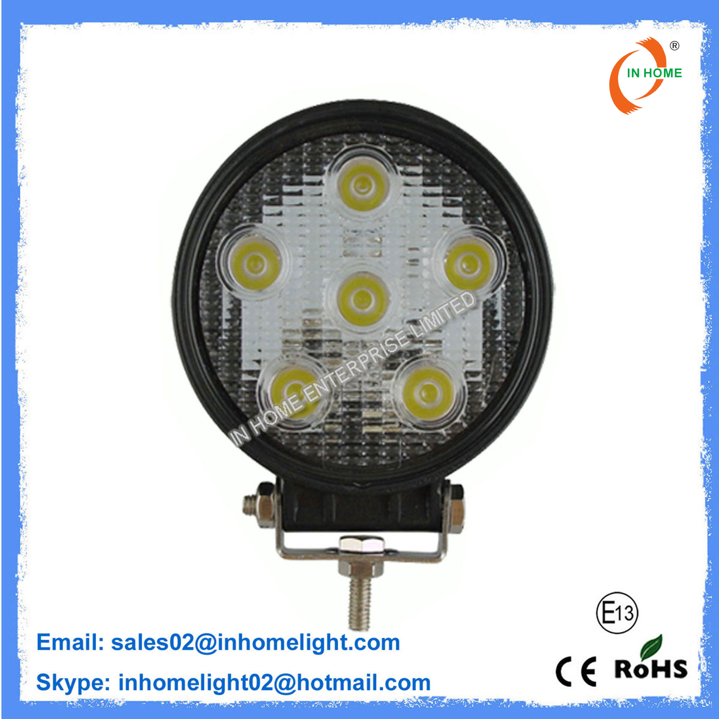 Outdoor 18W Work Light IP67 Aluminum Led Work Light for Mining