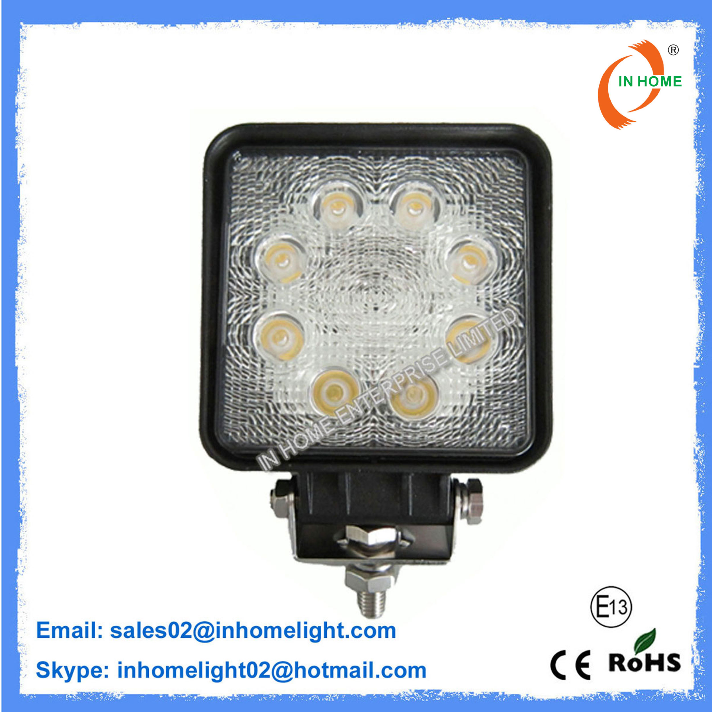24W Automotive Work Light IP67 2160LM Square LED Work Light