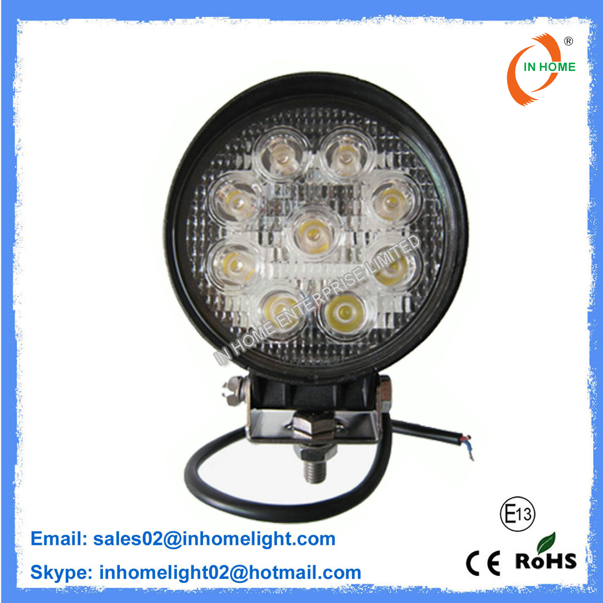 Work Light 27W IP67 Round LED Work Lights