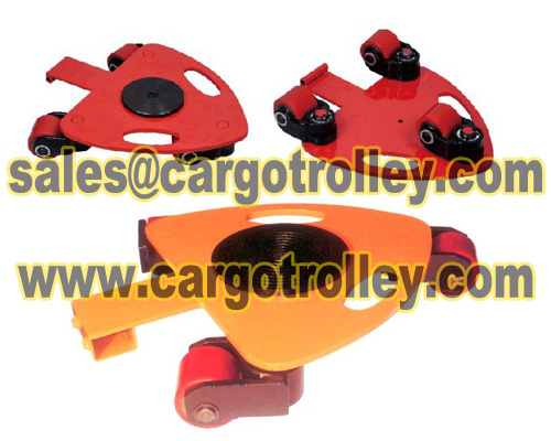 Rotating dollies skates for confined spaces