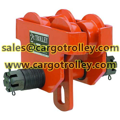 Manual trolley for hoist moving works