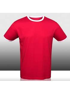 100% Polyester Men Red Dry Fit Short Sleeve T-shirt