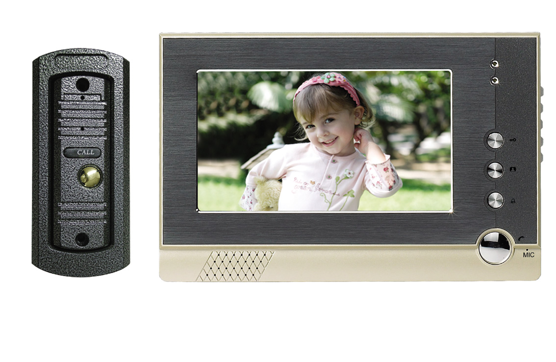 Apartment wired 7 inch color video door phone intercom system