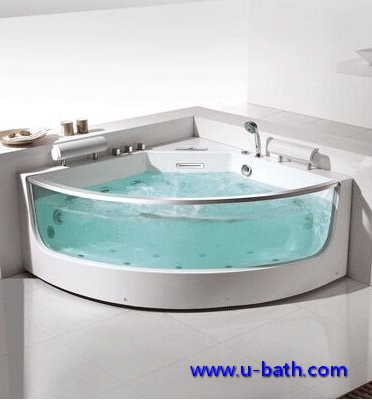 UB041 Tempered Glass Corner Massage Bathtub For 2 Persons