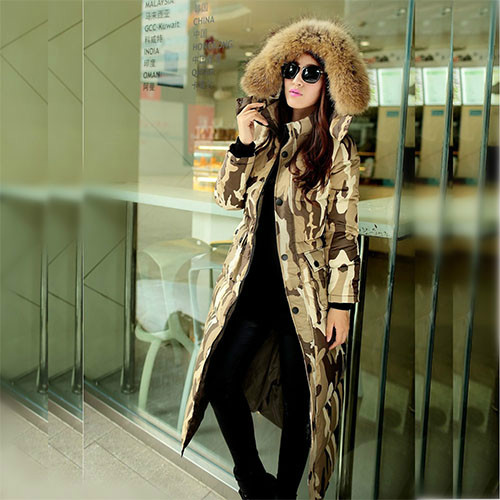 Big raccoon fur collar long down jacket