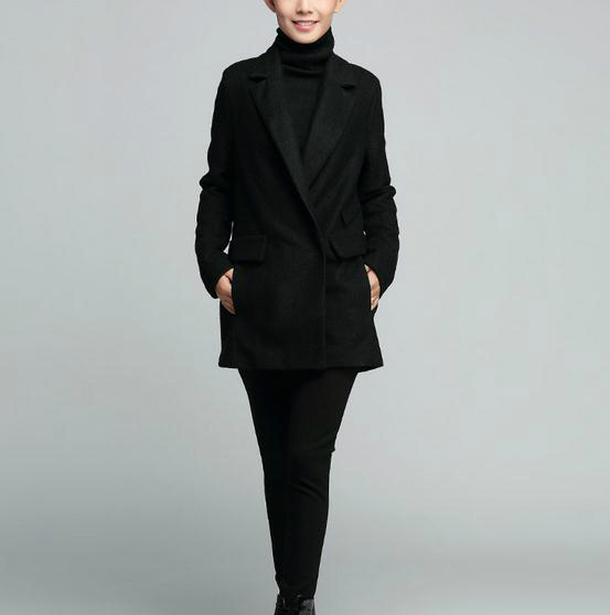 Autumn upscale womens fashion loose solid color suit collar wool coat
