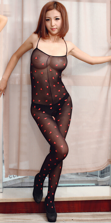 Red Heart Black Sheer Laides Body Stocking 06118