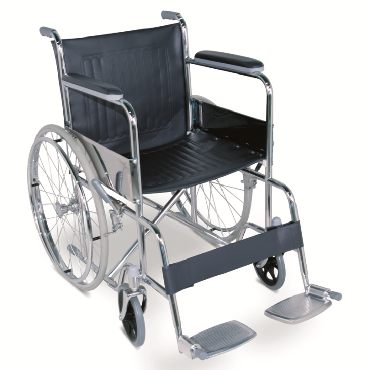 Economic Manual Wheelchair With Chromed Steel Frame