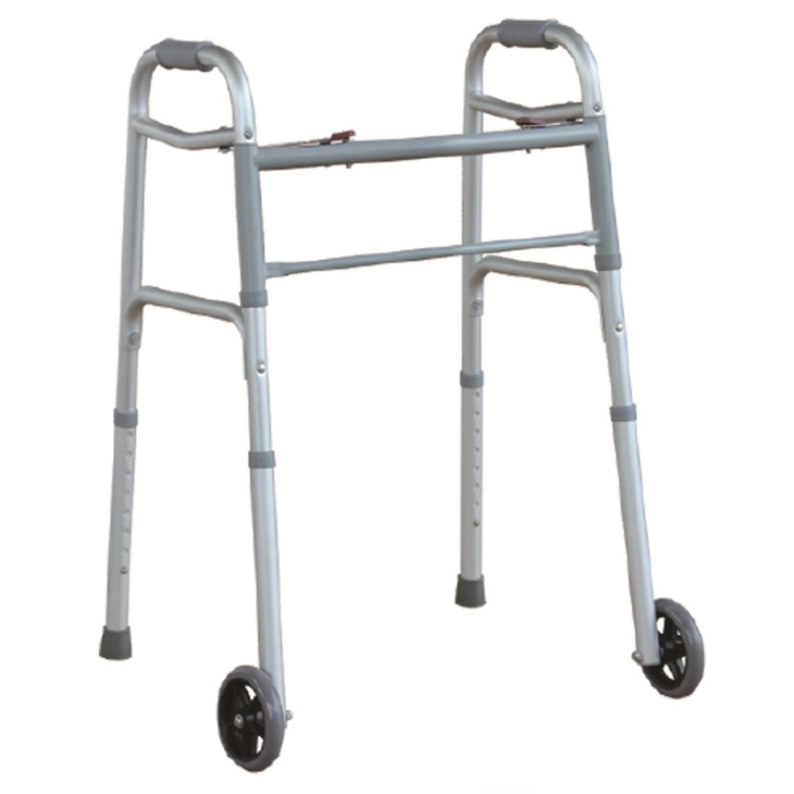 "Two Button Folding Walker With 5"" Front Wheels"