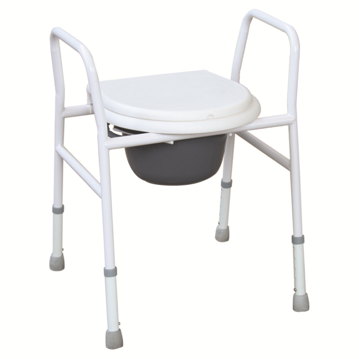 Powder Coated Steel Commode Chair With Armrests