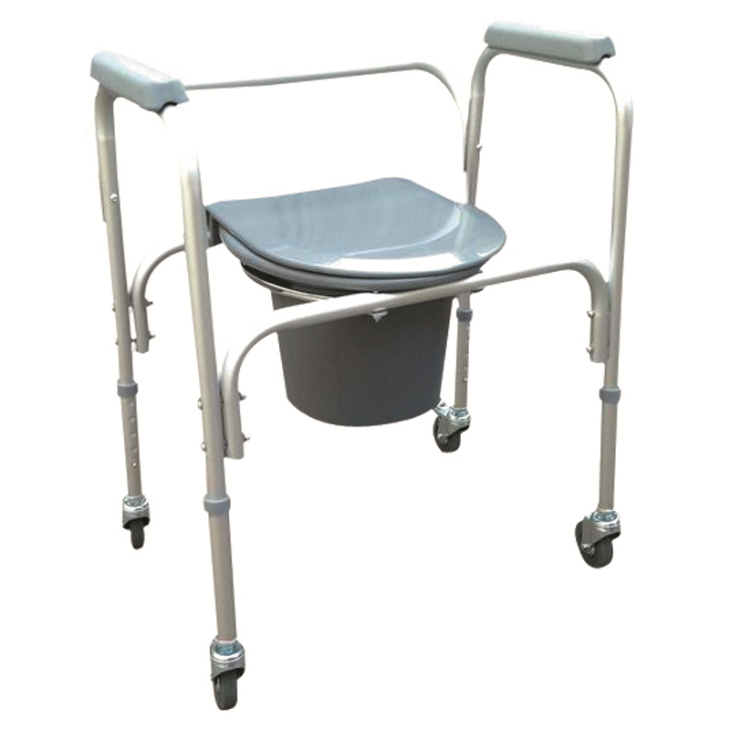 "Aluminum Lightweight Commode Chair With Plastic Armrests & 3"" Wheels"
