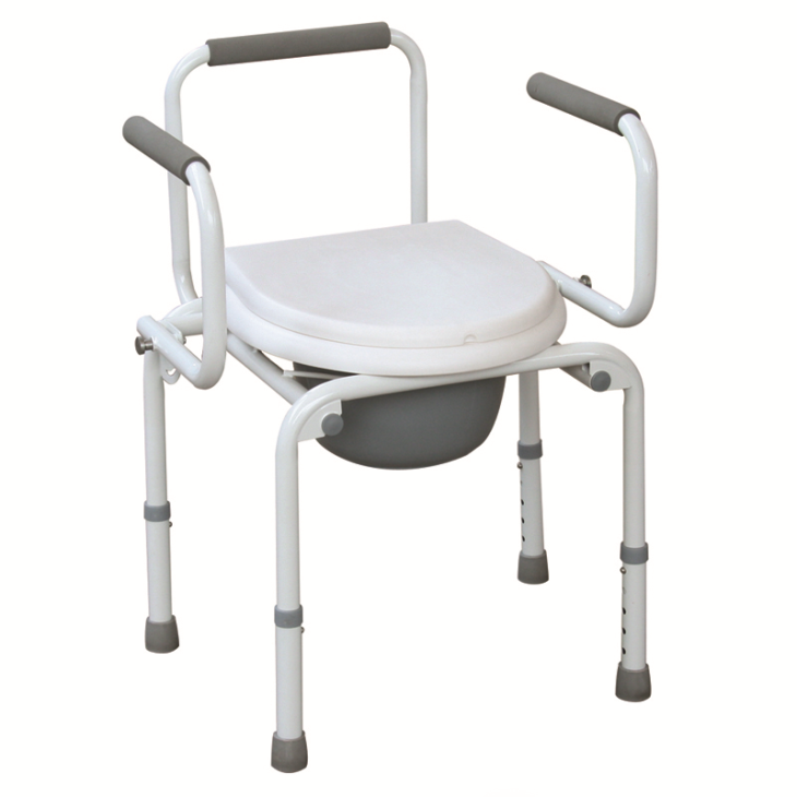 Powder Coated Steel Drop Arm Commode Chair With Adjustable Height