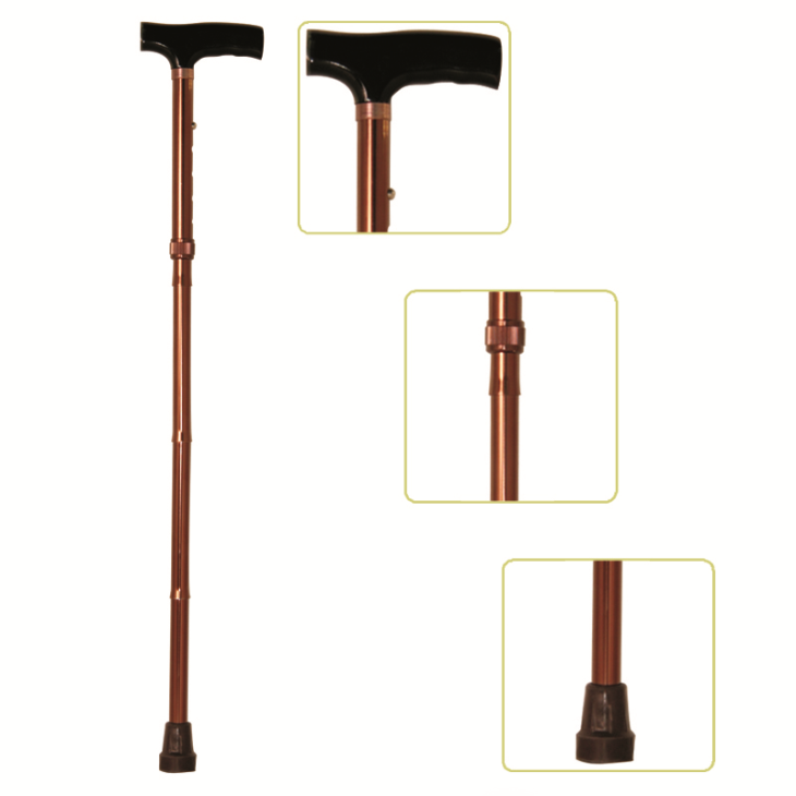 Height Adjustable Lightweight Folding Cane With T-Handle, Bronze