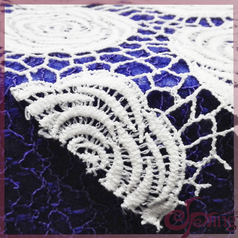 [F11513] Rosette embroidery chemical lace fabric