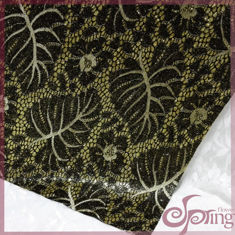 [F71517]Leaves jacquard embroidered sparkle bonded lace fabric for dress