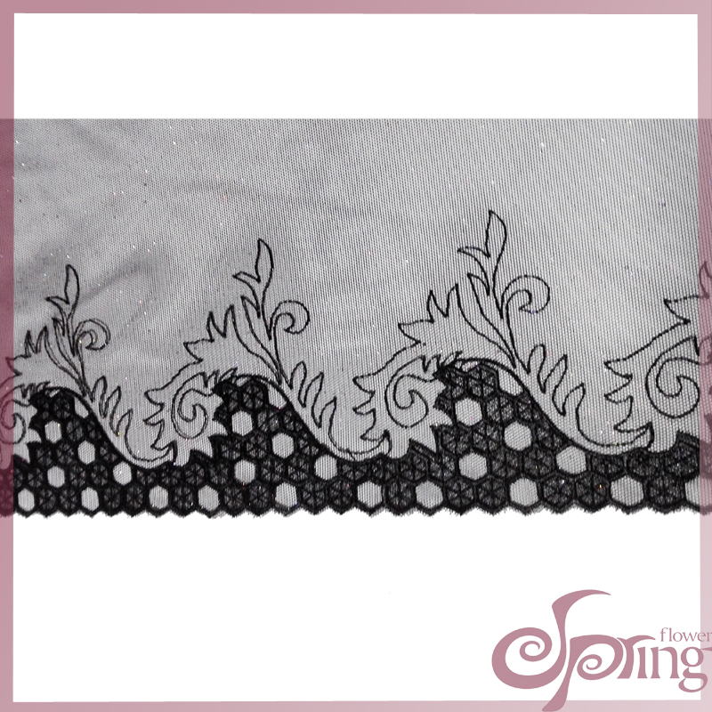 [F22090T] Jacquard embroidered sparkle lace fabric for dress (black)