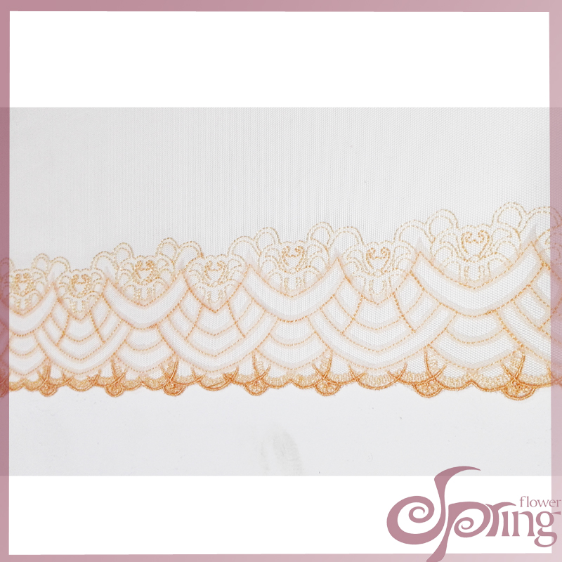 [F22092T] Jacquard floral embroidered netting lace fabric for garment