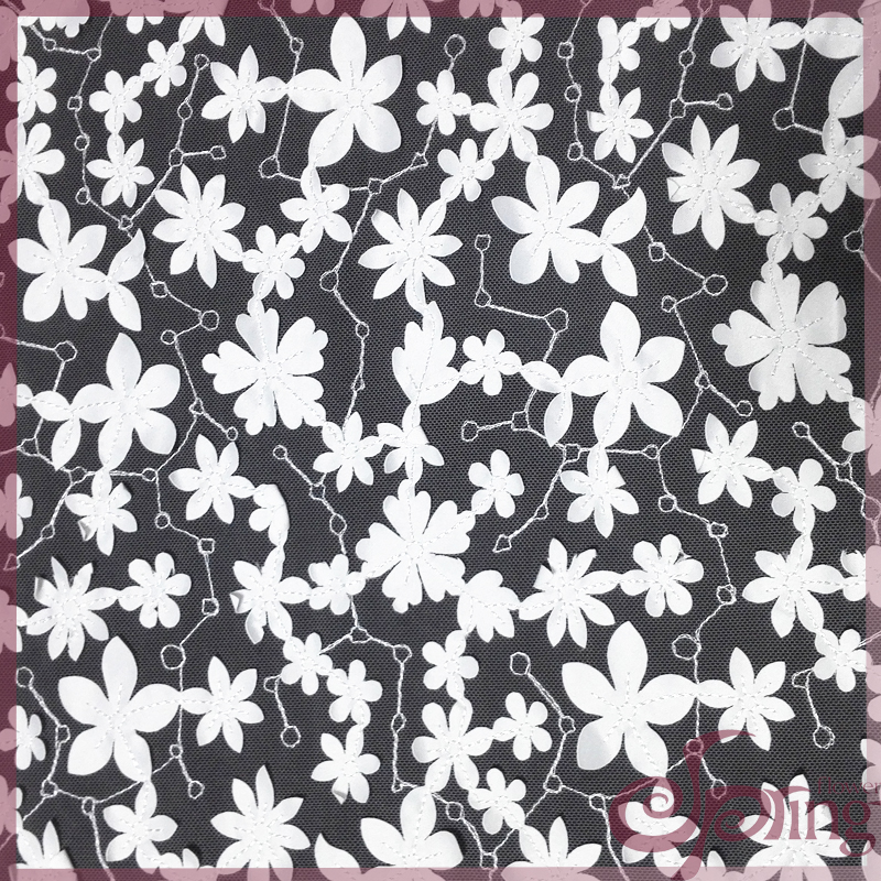[F22107T] 3D applique floral embroidered netting lace fabric for dress