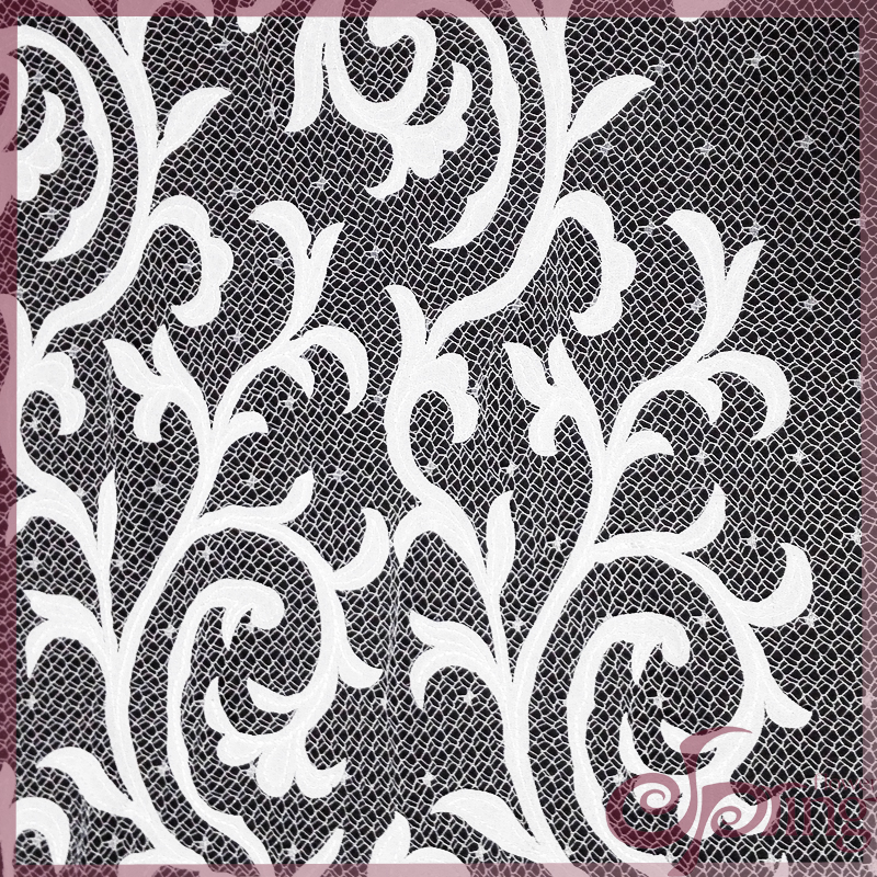 [F22108T] Applique polyester mesh embroidery lace fabric for dress