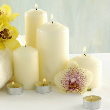 religious activities and use white color church pillar candle