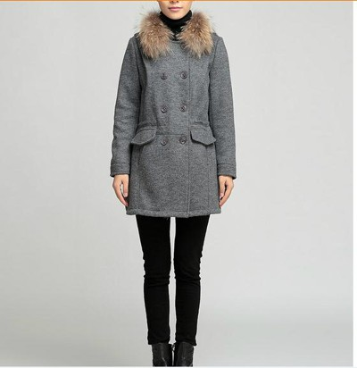 long section raccoon fur collar hooded woolen coat