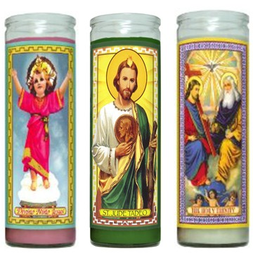 saint glass religious candles with customized label