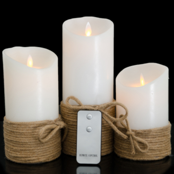 flameless moving wick wax LED candle with changing color