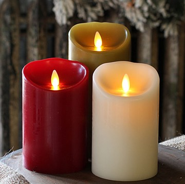flameless moving wick real wax LED candle with timer