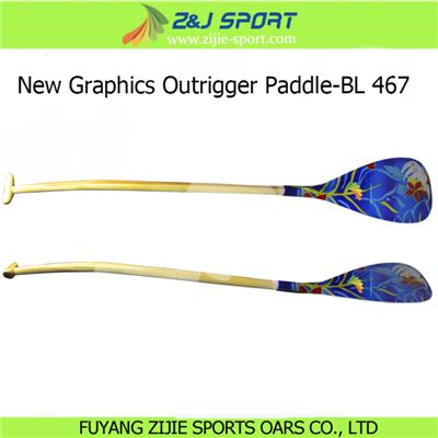 New Graphics Outrigger Canoe Paddle-BL 467