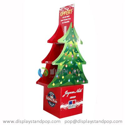 Floor Standing Cardboard Christmas Tree Display with Shelves for Advertising