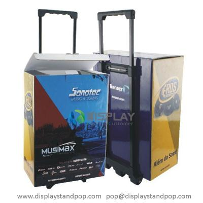 Exhibition POP Cardboard EXPOBOX with Full Printing, Cardboard Trolleys on Wheels