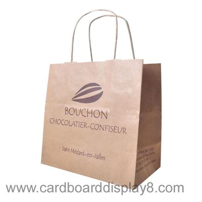 Professional Custom-made Brown Kraft Shopping Bag With Twist Handle