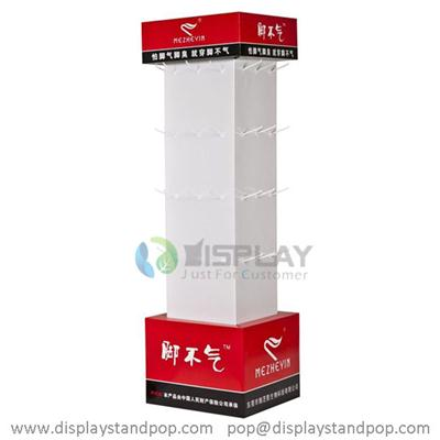 Flooring custom designed cardboard exhibition stand with peg hooks