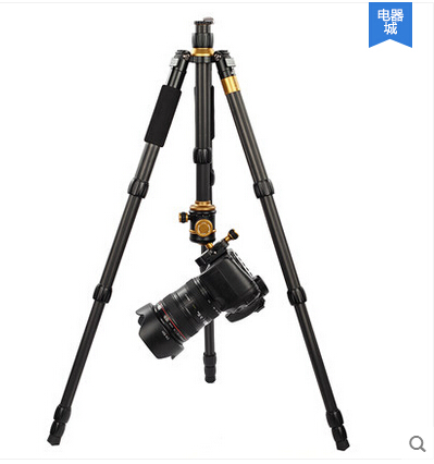 Portable lightweight carbon fiber camera tripod with dual level ball-head