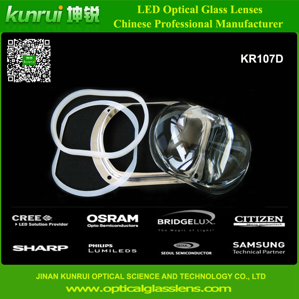LED Optical Glass Lens for High Power Tunnel Light (KR107D)