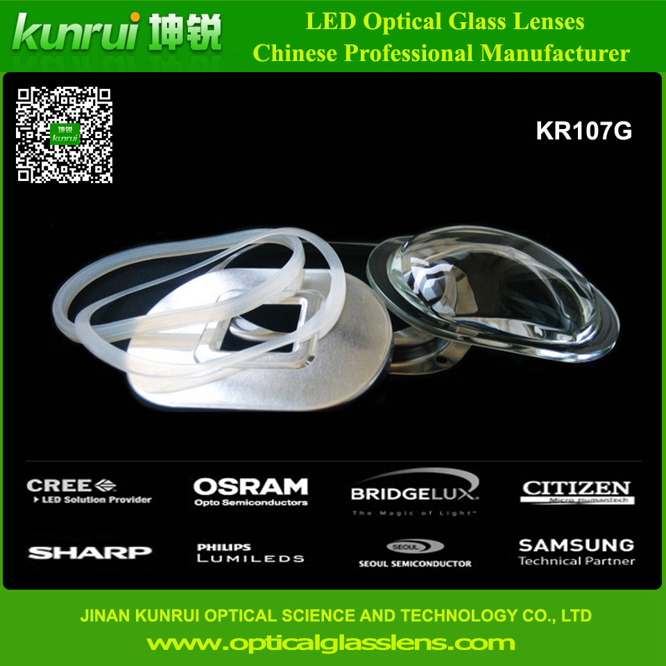 Optical Glass Lens for LED High Power Street Light (KR107G)