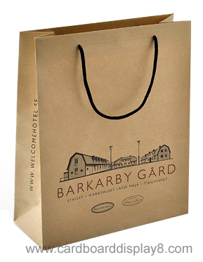 Low Cost Brown Kraft Paper Bags with Silk Screen Printing