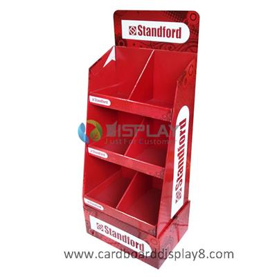 3 Shelves Cardboard Free Standing Display Unit, Stationery Point of Purchase Display