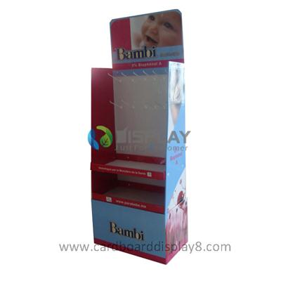 Baby Products Promotional Display with Peg Hooks and Shelves, Cardboard Promotional Displays