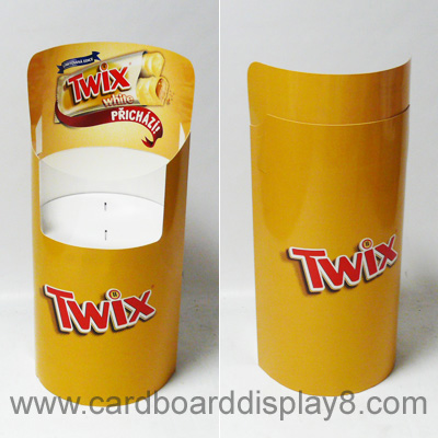 Twix Food Display Bins, Round Dump Bins made by Cardboard