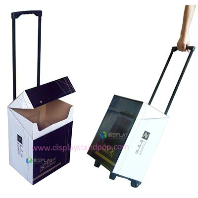 POP Cardboard Trolley Boxes with Iron Retractable Handles