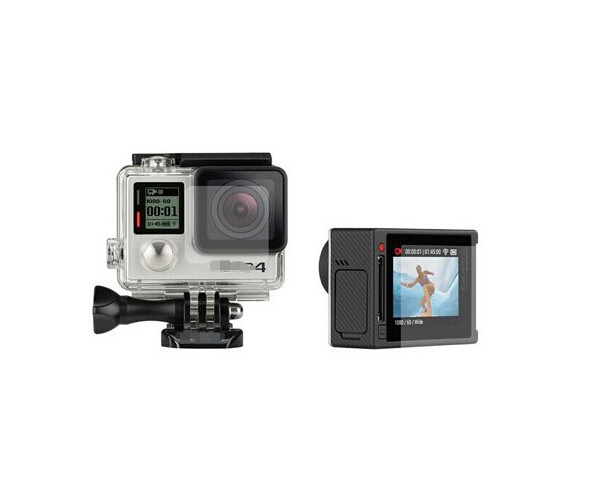 Ultra Clear Waterproof Housing Glass Lens Protector + LCD Touch Screen Protective Film for GoPro Hero 3+ 4 Silver Camera