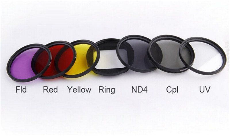6 in 1 52mm ND2 Lens Filter + UV Lens Filter + Red FLD Yellow CPL Filter + Filter Adapter Ring Kit Set for GoPro HERO 4 3+ Cam