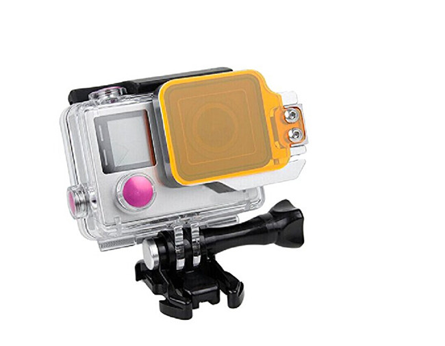 Yellow Filter-Soft Water Color Under Sea Diving Lens Color Filter + Waterproof Case Frame for Go Pro Hero 3+ 4 Camera