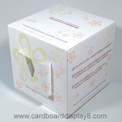 Custom Printed POP Cardboard Collection Box with Leaflet Dispensers