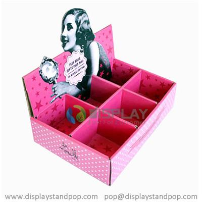 Counter Top Cardboard Cosmetics Counter Display with 6 Pockets